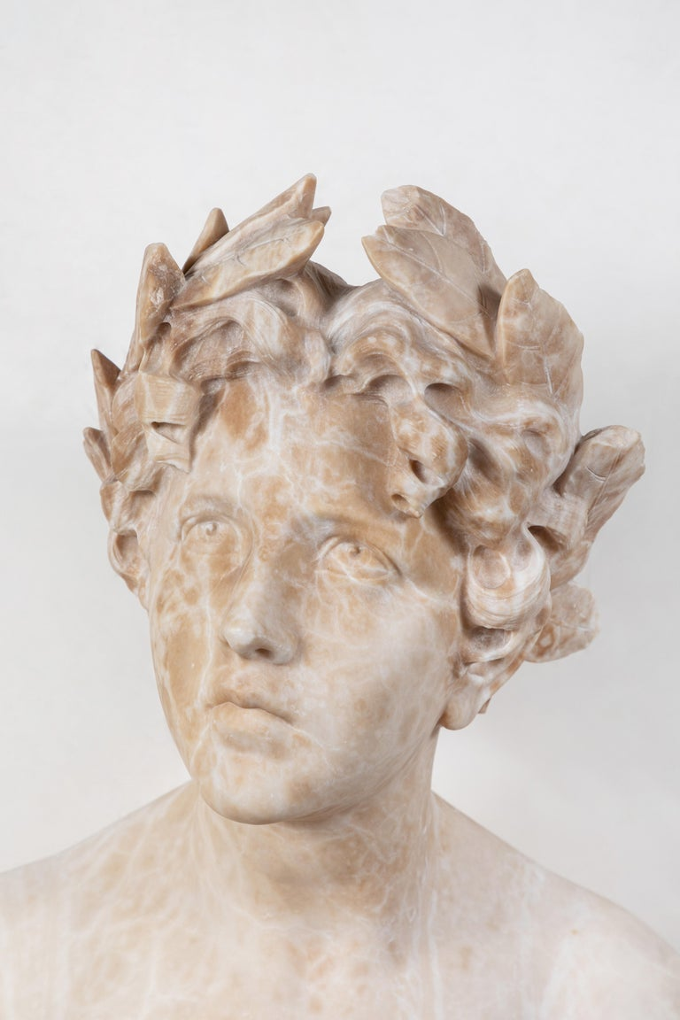 Early 20th Century Italian Alabaster Bust of Victory For Sale