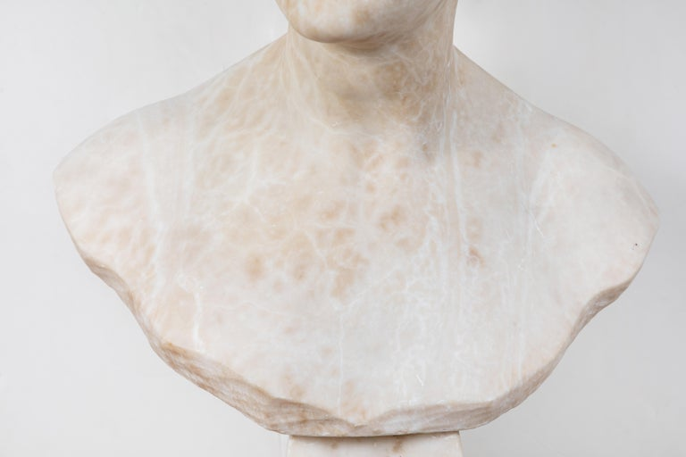 Italian Alabaster Bust of Victory For Sale 1