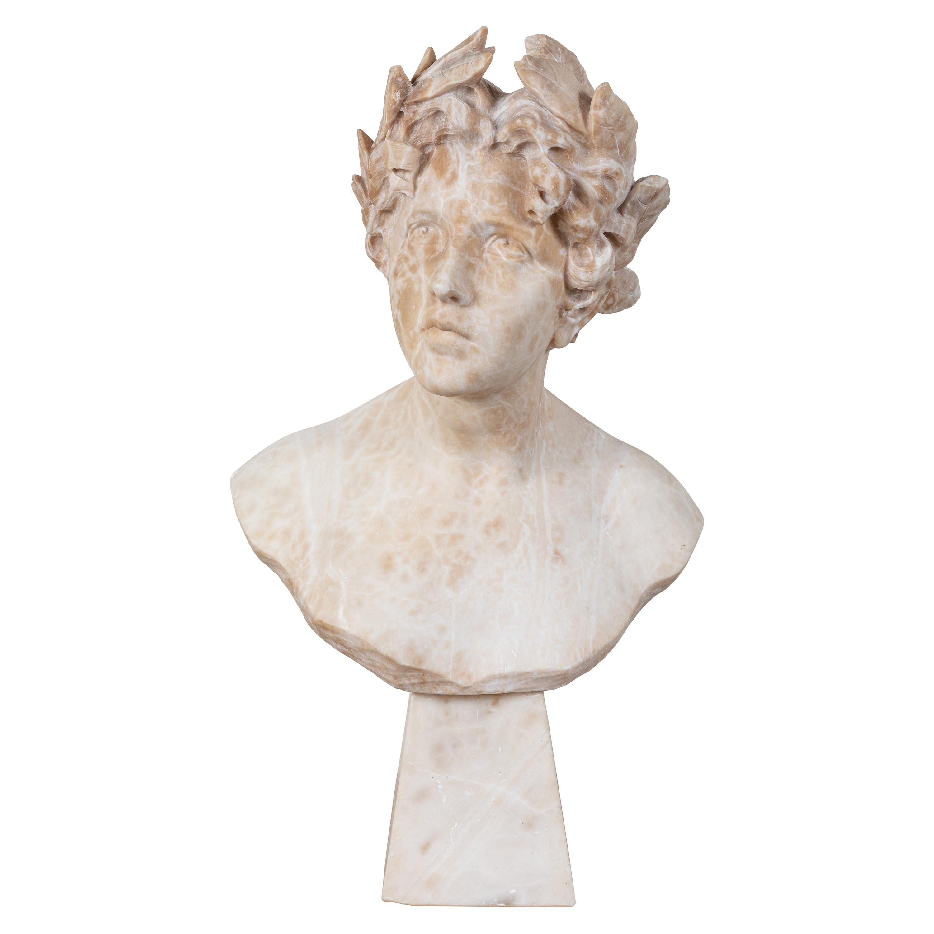 Italian Alabaster Bust of Victory