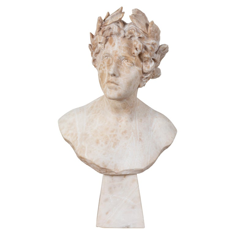 Italian Alabaster Bust of Victory For Sale