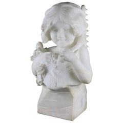 Large Italian Alabaster Bust Sculpture of Girl w. Flowers by D. Zoi, circa 1890