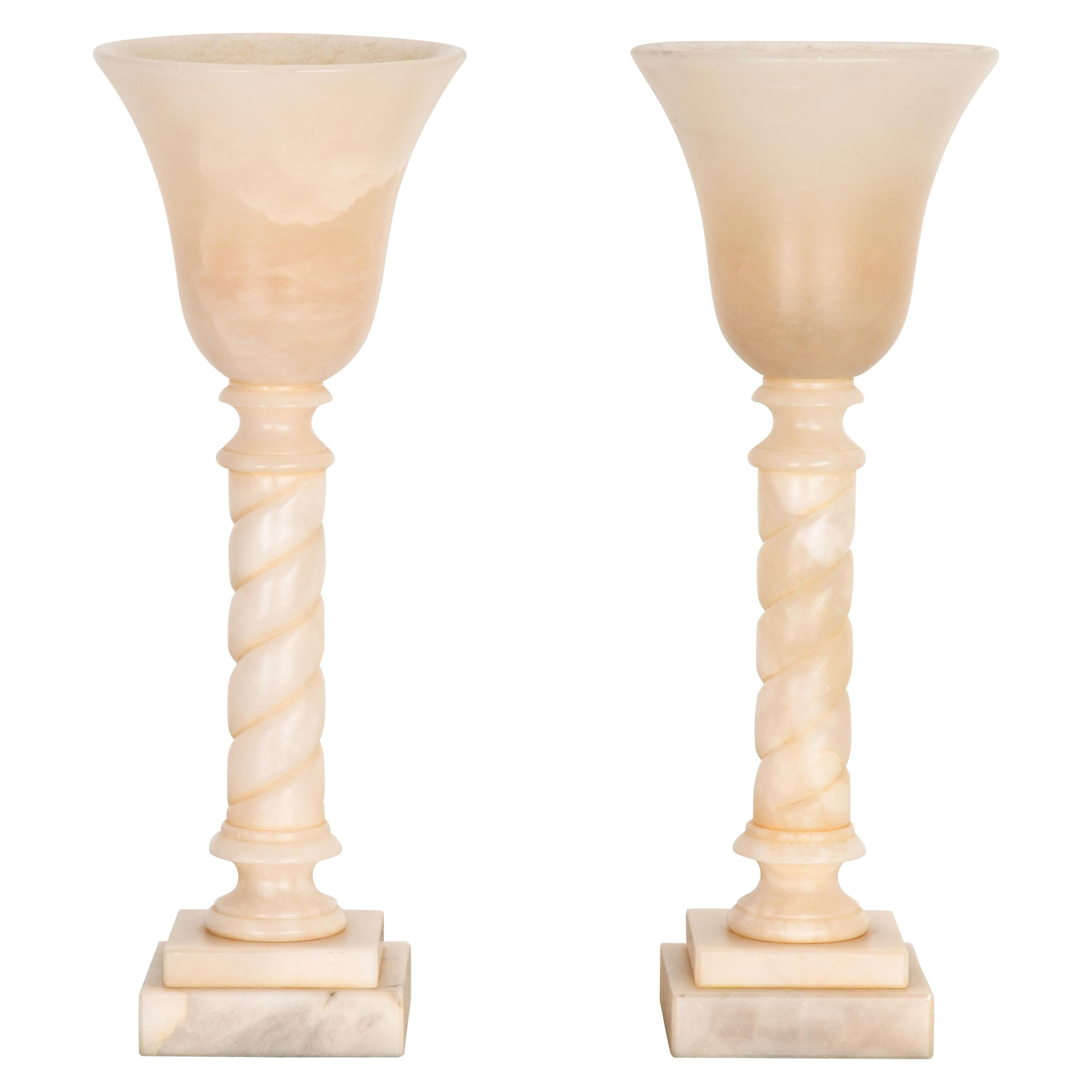Italian Alabaster Candle Holders in the Manner of Michael Taylor, 1980s