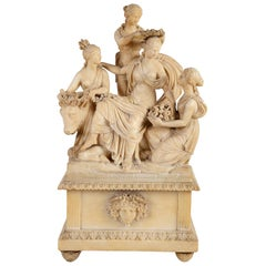 Italian Alabaster Carving of Europa and the Bull, circa 1800