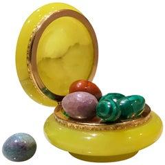 Italian Alabaster & Gilt Bronze Trinket Box & Stone Egg Sculptures, Malachite
