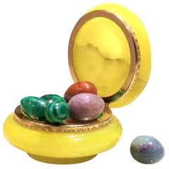 Italian Alabaster and Gilt Bronze Trinket Box & Stone Egg Sculptures, Malachite
