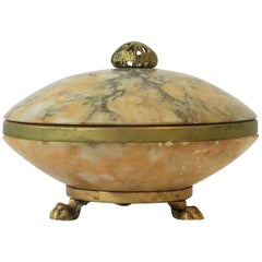 Italian Alabaster Marble and Brass Round Box in the Neoclassical Style