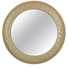 Italian Aldo Londi for Bitossi Beige Glazed Ceramic Leaf Motif Round Mirror