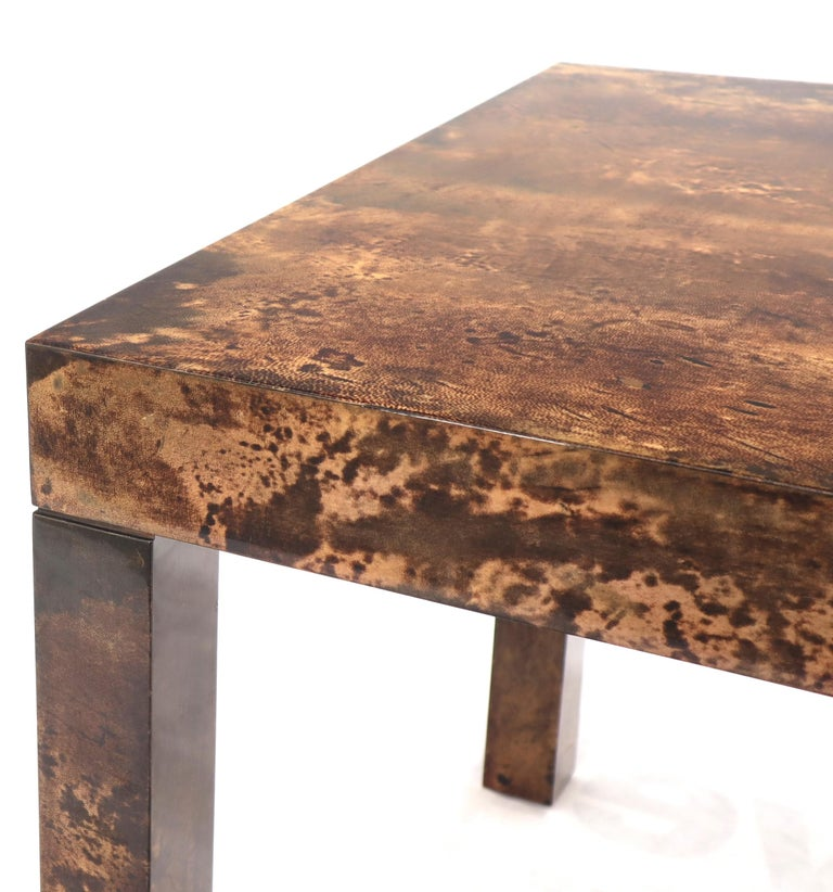 Italian Aldo Tura Goat Skin Parchment Rectangle Dining Table with One Leaf Board For Sale 5
