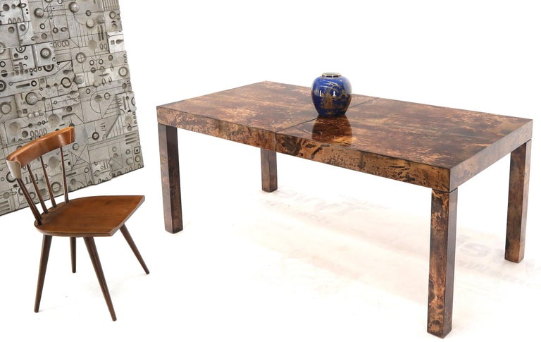 Mid-Century Modern Italian Aldo Tura Goat Skin Parchment Rectangle Dining Table with One Leaf Board For Sale