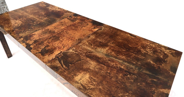 20th Century Italian Aldo Tura Goat Skin Parchment Rectangle Dining Table with One Leaf Board For Sale