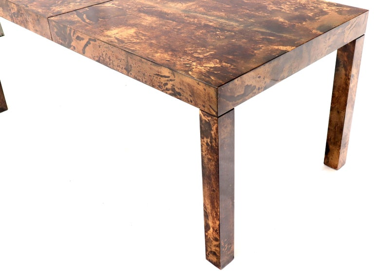 Italian Aldo Tura Goat Skin Parchment Rectangle Dining Table with One Leaf Board For Sale 2