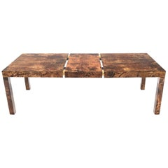 Italian Aldo Tura Goat Skin Parchment Rectangle Dining Table with One Leaf Board