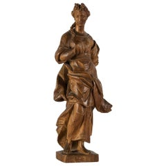 Italian Allegory Wood Sculpture, Venice 18th Century Carved