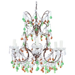 Italian Amber And Green Crystal Beaded Chandelier