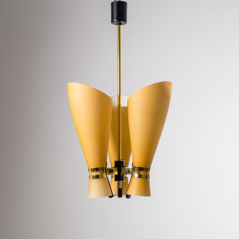 Italian Amber Glass Chandelier, circa 1960 For Sale 3