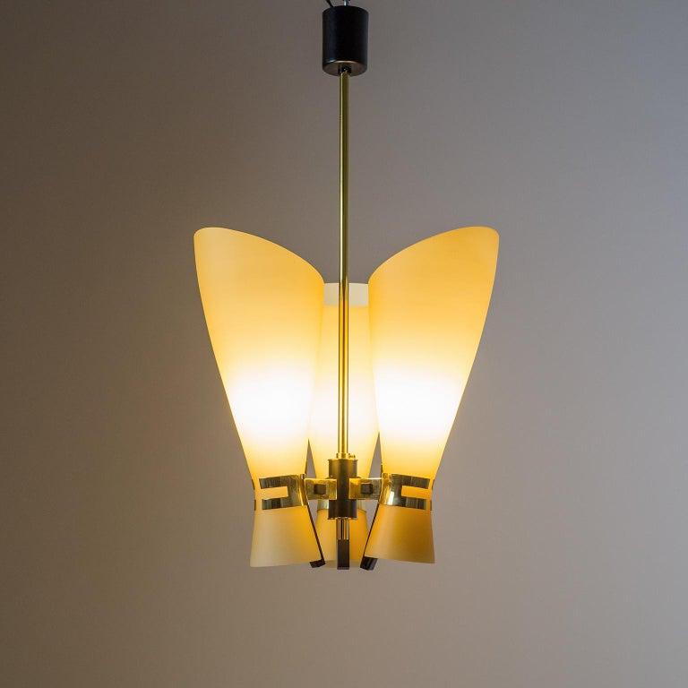 Mid-Century Modern Italian Amber Glass Chandelier, circa 1960 For Sale