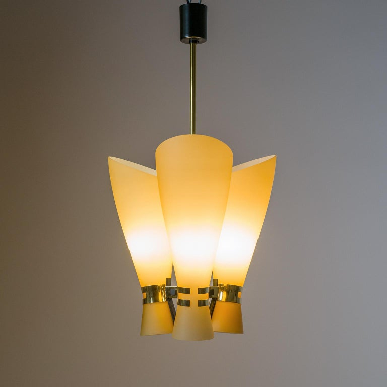 Frosted Italian Amber Glass Chandelier, circa 1960 For Sale