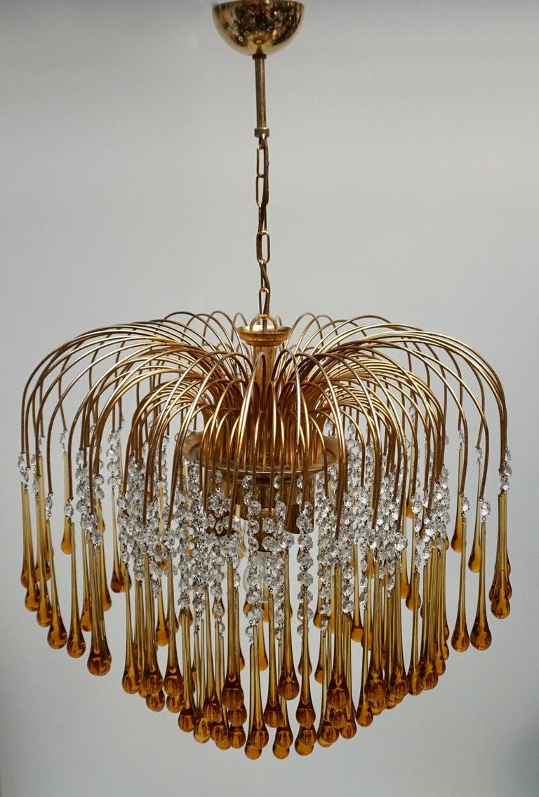 Hollywood Regency Italian Amber Murano Crystal Teardrop Waterfall Chandelier, 1970s For Sale