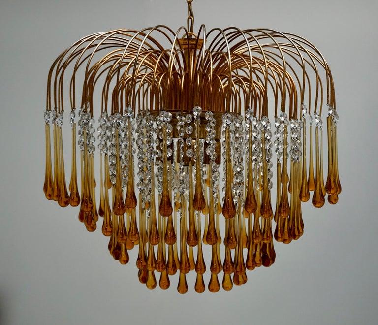 Italian Amber Murano Crystal Teardrop Waterfall Chandelier, 1970s In Good Condition For Sale In Antwerp, BE