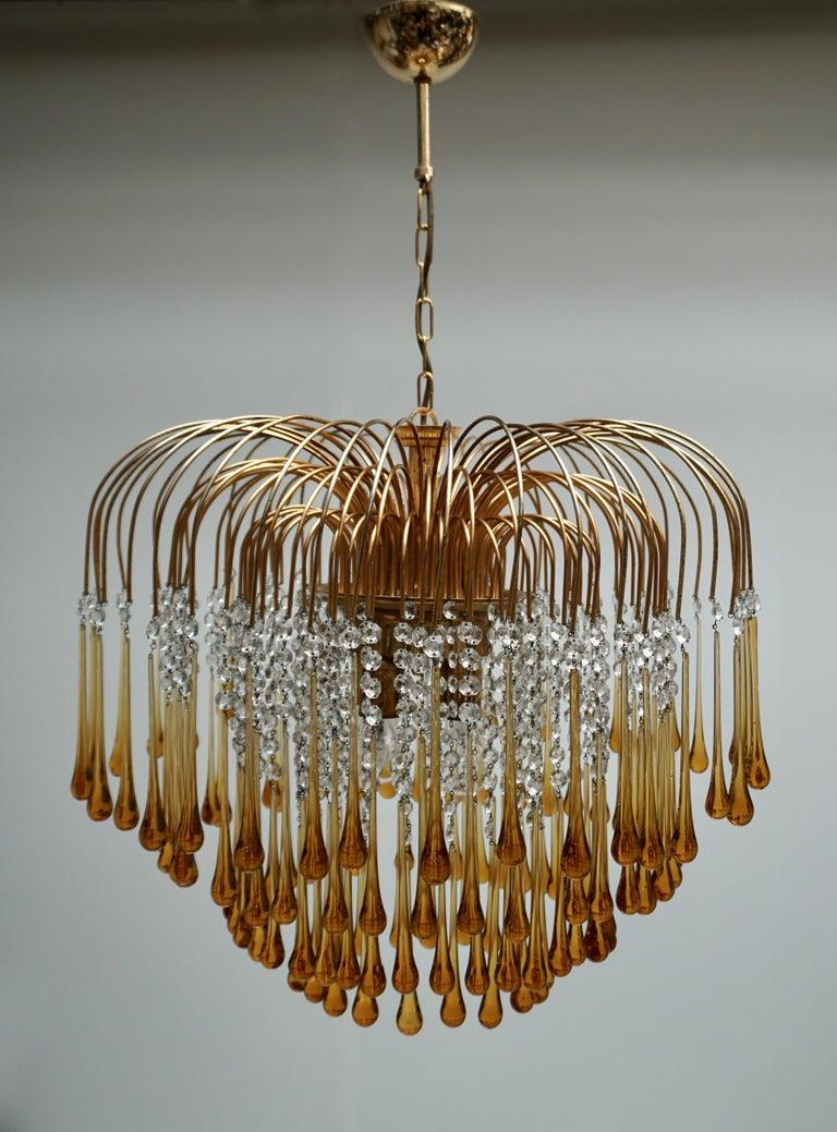 Brass Italian Amber Murano Crystal Teardrop Waterfall Chandelier, 1970s For Sale