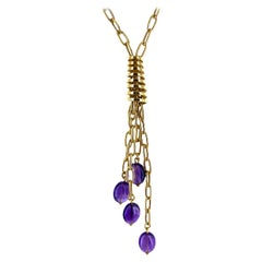 Italian Amethyst Drop 18 Karat Yellow Gold Link Necklace