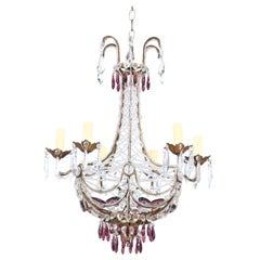 Italian Amethyst Glass and Crystal Beaded Chandelier