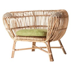 Italian and Midcentury Design Style Rattan and Wicker Armchair