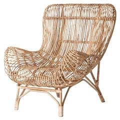 Italian and Midcentury Design Style Rattan Armchair