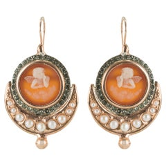 Italian Angel Cameo Pearls Vermeil Drop Earrings