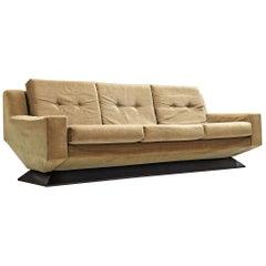 Italian Angular Sofa with Velvet Upholstery