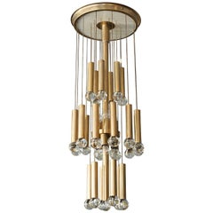 Italian Anodized Aluminium and Transparent Glass Balls Chandelier