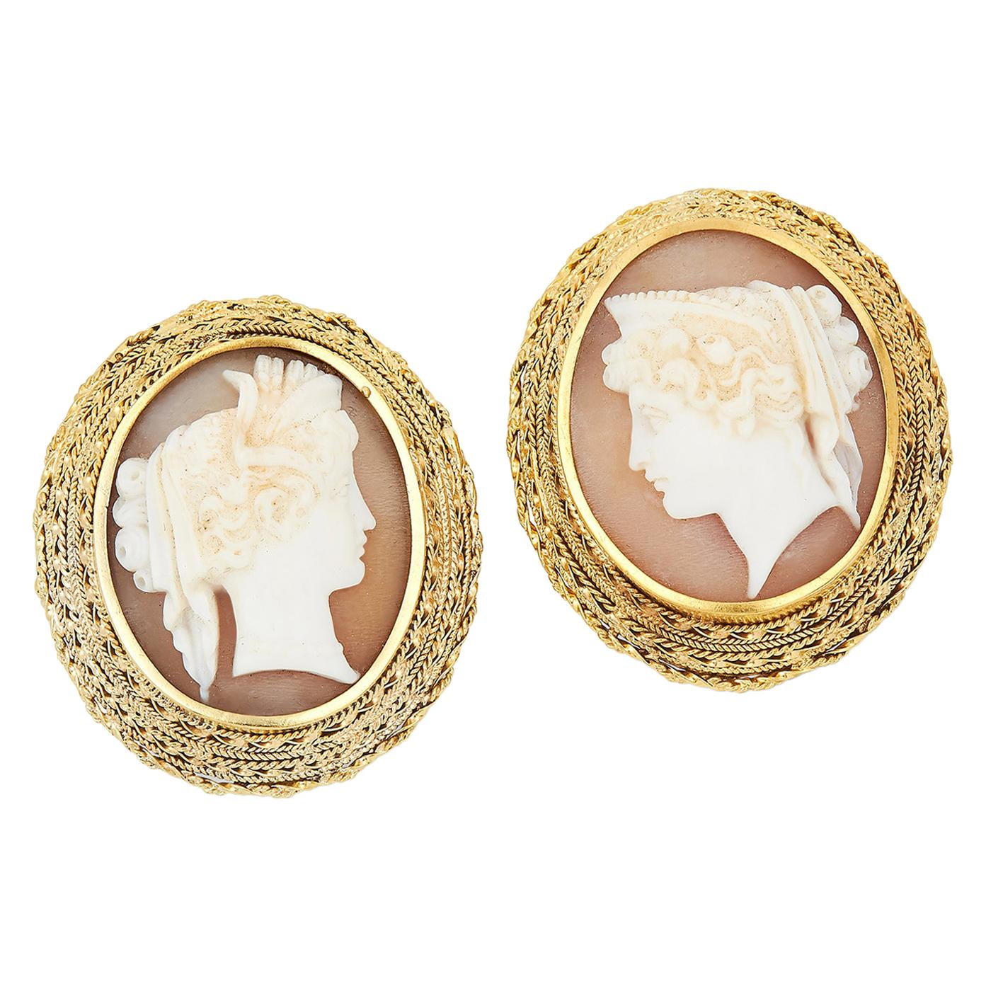 Italian Antique Carved Cameo Earrings, 1880s