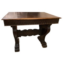 Italian Antique Carved Wood Table
