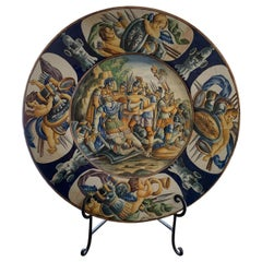 Italian Antique Castelli Ceramic Plate, End 19th Century