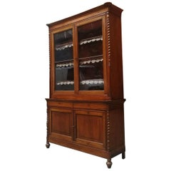 Italian Antique Cherrywood and Glass Highboard Whit Showcase, 1900s