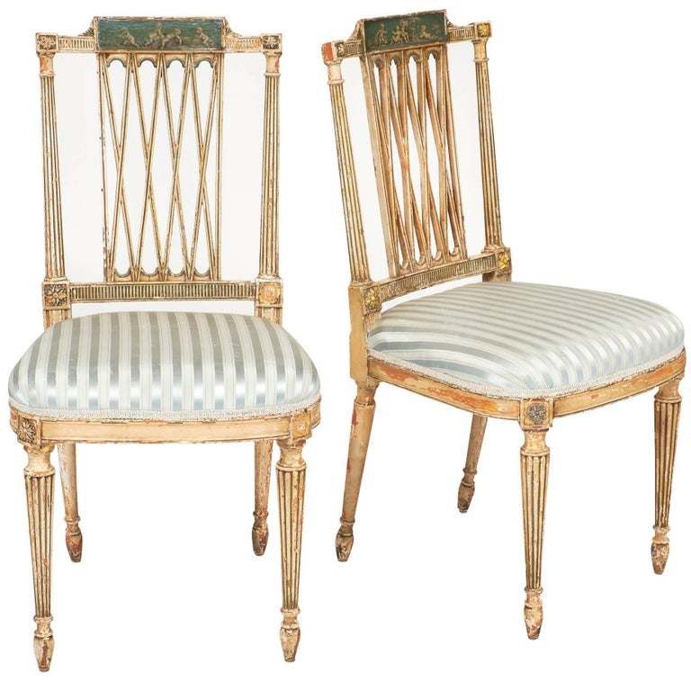 Italian Antique Painted Side Chairs For Sale - Italian Antique Painted Side Chairs For Sale At 1stdibs