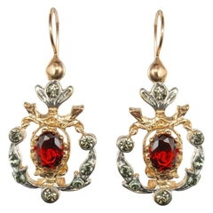 Italian Antique Style Crystal Vermeil Lever, Back Earrings