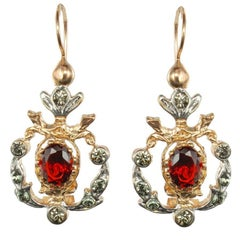 Italian Antique Style Crystal Vermeil Lever, Back Earrings