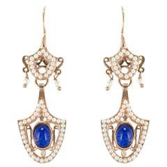 Italian Antique Style Vermeil Dangle Earrings