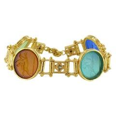 Italian Antique Style Vermeil Intaglio Bracelet