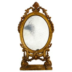 Italian Antique Vanity Mirror in Gilded Wood and Antique Mirror, 18th Century