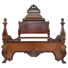 Italian Antique Victorian Carved Walnut Highback Full Bed Lincoln Style