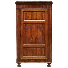 Italian Antique Walnut Corner Cabinet with Decoration, 1800s