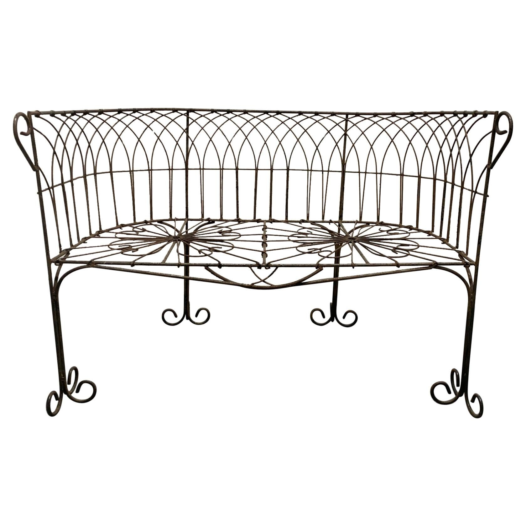 Italian Antique Wrought Iron Bench