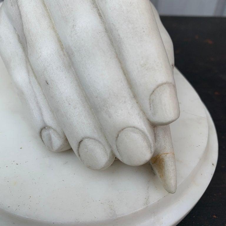 Neoclassical Italian Antonio Canova White Marble Hand Sculpture, Early 19th Century For Sale