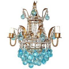 Italian Aqua Blue Crystal Beaded Murano Drops Chandelier