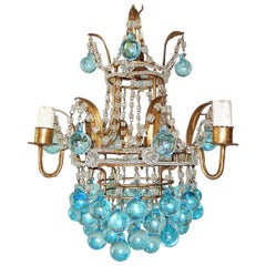 Italian Aqua Blue Crystal Beaded Murano Drops Chandelier