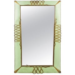 Italian Aquamarine Perforated Sheet and Brass Decoration 1940s Wall Mirror