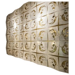 Italian Architectural Wall Feature in Marble and Brass with Backlighting