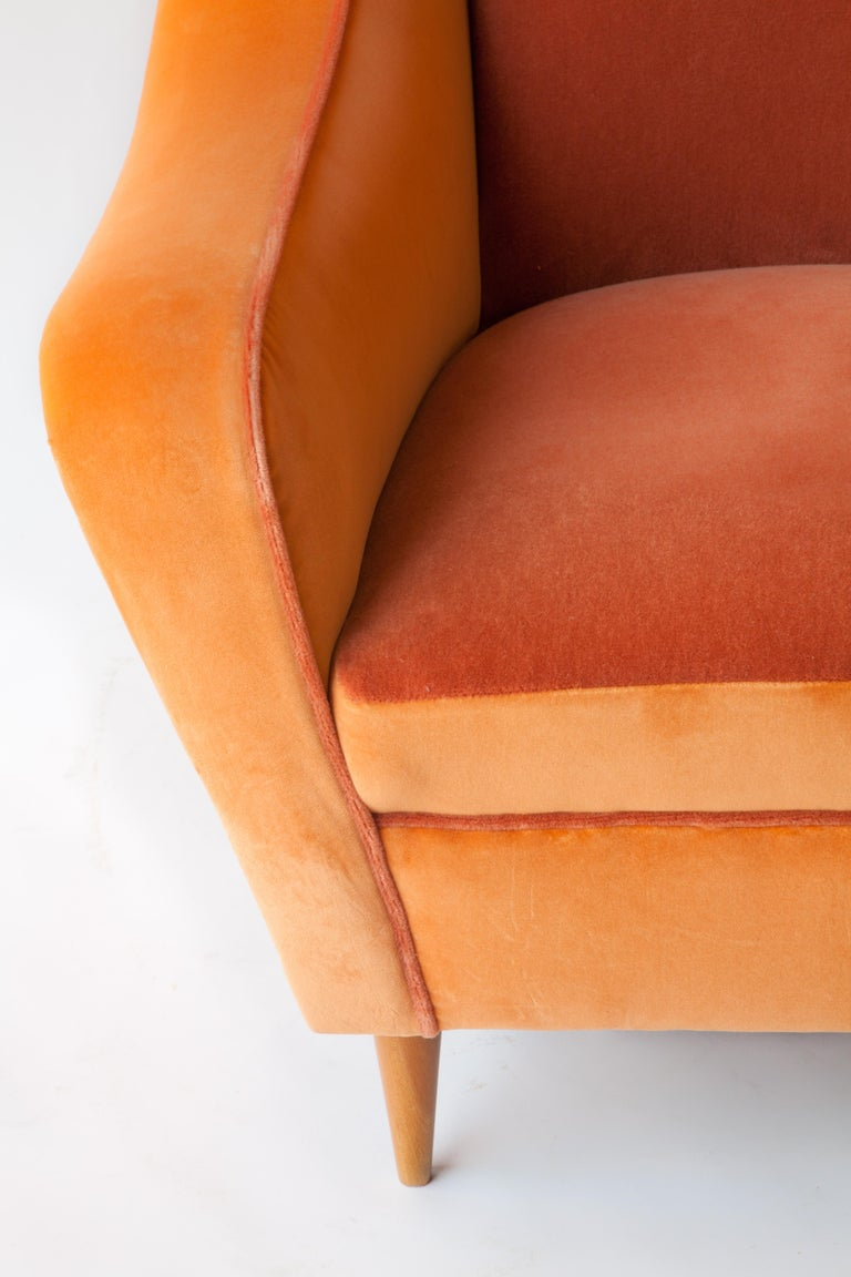 Mohair Italian Armchairs Attributed to Carlo di Carli For Sale